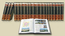 Image of the multiple volumes of the Encyclopedia of North Korean geography and culture