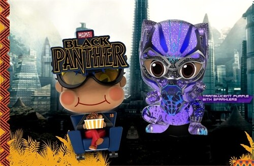 [Hot Toys] 코스베이비 블랙펜서 모비&블랙펜서 COSB487 - Black Panther Movbi and Black Panther Cosbaby (S) Bobble-Head Collectible Set