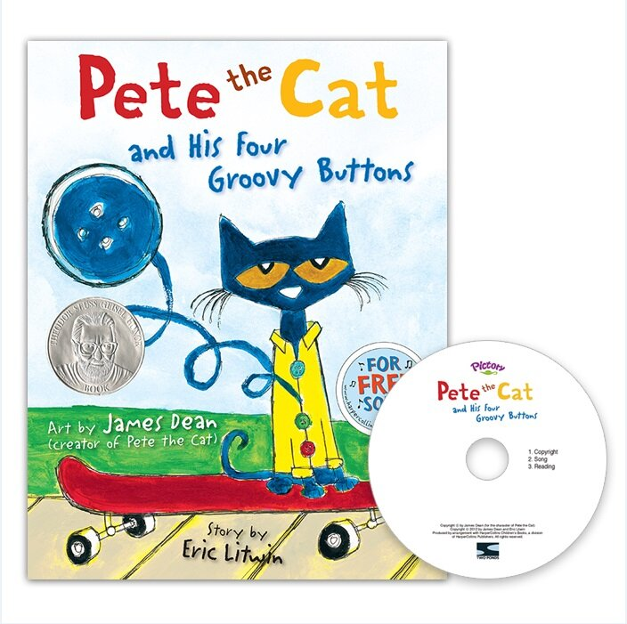 Pictory Set PS-67 / Pete the Cat and His Four Groovy Buttons (Hardcover + Audio CD)
