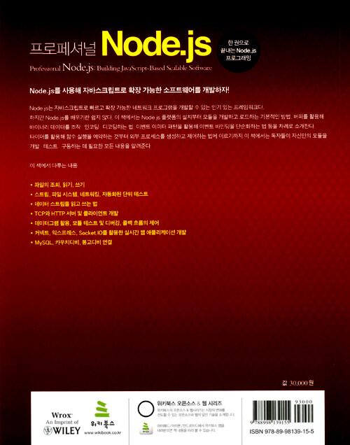 (프로페셔널) Node.js : 한 권으로 끝내는 Node.js 프로그래밍