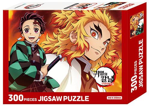 극장판 귀멸의 칼날 무한열차편 직소 퍼즐 300조각 : 렌고쿠와 탄지로